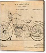 1928 Harley Davidson Motorcycle Antique Paper Patent Print Canvas Print