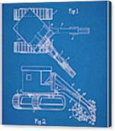 1937 Backhoe Excavator Blueprint Patent Print Canvas Print
