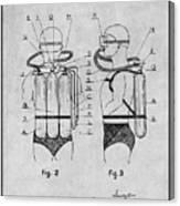 1947 Jacques Cousteau Diving Suit Patent Print Gray Canvas Print