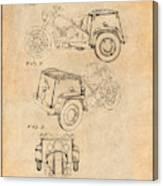 1952 3 Three Wheel Motorcycle Antique Paper Patent Print Canvas Print