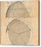 1954 Geodesic Dome Antique Paper Patent Print Canvas Print