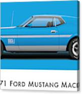 1971 Ford Mustang Mach 1 - Grabber Blue Ver.2 Canvas Print