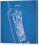 1988 Motorola Cell Phone Blueprint Patent Print Canvas Print