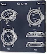 1999 Rolex Diving Watch Patent Print Blackboard Canvas Print