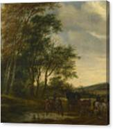 A Landscape With A Carriage And Horsemen At A Pool  Canvas Print