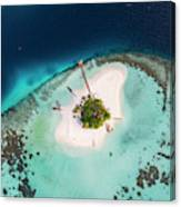 Aerial Drone View Of A Tropical Island, Maldives Canvas Print