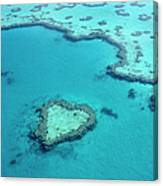 Aerial Of Heart-shaped Reef At Hardy Canvas Print