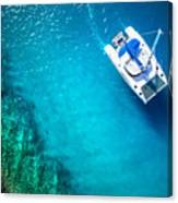 Amazing View To Yacht Sailing In Open Canvas Print