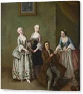An Interior With Three Women And A Seated Man  Canvas Print