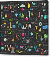 Cute Alphabet. Letters And Words. Learn Canvas Print