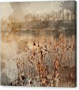 Digital Watercolor Painting Of Landscape Of Lake In Mist With Su Canvas Print