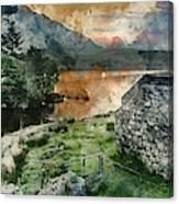 Digital Watercolor Painting Of Panorama Landscape Stunning Sunri Canvas Print