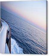 Luxury Motor Yacht Sailing At Sunset Canvas Print