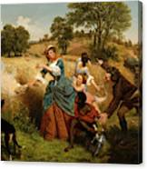 Mrs  Schuyler Burning Her Wheat Fields On The Approach Of The British  Canvas Print