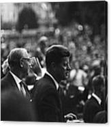 President Kennedy Arrives In Berlin Canvas Print