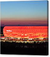 Soccer Stadium Lit Up At Dusk, Allianz Canvas Print