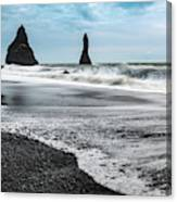 The Dramatic Black Sand Beach Of Reynisfjara. Canvas Print