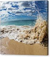 View Of Surf On The Beach, Hawaii, Usa Canvas Print