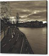 Walking Along The Seine At Sunset Canvas Print