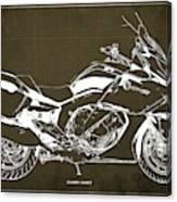 2016 Bmw K1600gt Blueprint, Original Motorcyclkes Blueprints, Bmw Artworks, Vintage Brown Background Canvas Print