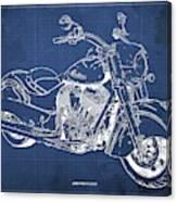2018 Indian Chief Blueprint, Vintage Blue Background, Giftideas Canvas Print