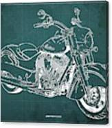 2018 Indian Chief Blueprint, Vintage Green Background, Giftideas Canvas Print