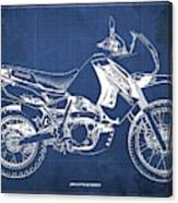 2018 Kawasaki Klr650 Blueprint Vintage Blue Background Original Artwork Canvas Print