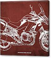 2018 Kawasaki Versys 1000 Lt Abs Blueprint Old Vintage Red Background Original Artwork Canvas Print