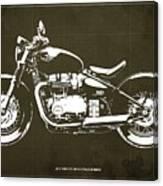 2018 Triumph Bonneville Bobber Blueprint, Brown Background Canvas Print
