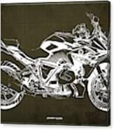 2019 Bmw R1250rs Blueprint, Brown Background Canvas Print