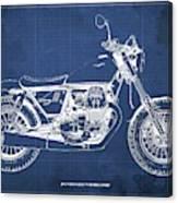 2019 Moto Guzzi V9 Bobber Sport Blueprint, Mid Century Blue Background Canvas Print