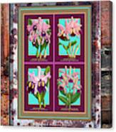 Antique Orchids Quatro On Rusted Metal And Weathered Wood Plank Canvas Print