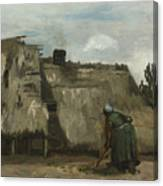 A Peasant Woman Digging In Front Of Her Cottage Canvas Print