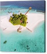 Aerial Drone View Of A Tropical Island, Maldives Canvas Print