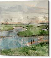 Digital Watercolor Painting Of Beautiful Dawn Landscape Over Eng Canvas Print