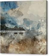 Digital Watercolor Painting Of Beautiful Summer Sunrise Landscap Canvas Print