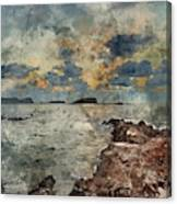 Digital Watercolor Painting Of Sunrise Over Rocky Coastline On M Canvas Print
