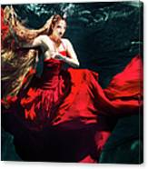 Female Dancer Performing Under Water Canvas Print