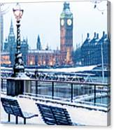 Houses Of Parliament In The Snow Canvas Print