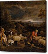 Shepherds And Sheep  Canvas Print