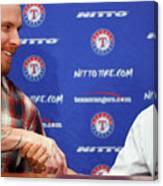 Texas Rangers Introduce Josh Hamilton Canvas Print