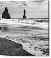 The Dramatic Black Sand Beach Of Reynisfjara. Canvas Print