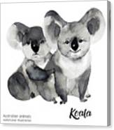 Australian Animals Watercolor Canvas Print