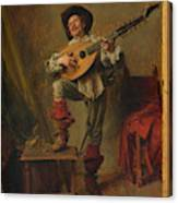 Soldier Playing The Theorbo  Canvas Print