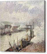 Steamboats In The Port Of Rouen  Canvas Print