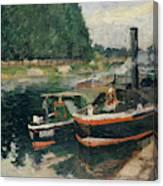 Barges At Pontoise  Canvas Print