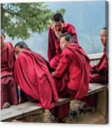 5 Monks On A Break Canvas Print