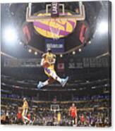 Lebron James Double-Clutch Reverse Dunk Tribute to Kobe Bryant Canvas Print