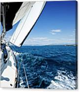 Sailing In The Wind With Sailboat Canvas Print