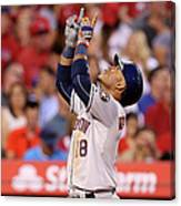 Houston Astros V Los Angeles Angels Of 7 Canvas Print